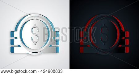 Paper Cut Ancient Coin Icon Isolated On Grey And Black Background. Paper Art Style. Vector