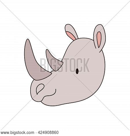 Cartoon Rhino Head Isolated. Colored Vector Illustration Of A Rhino Head With An Outline On A White