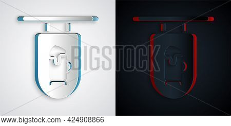 Paper Cut Street Signboard With Inscription Bar Icon Isolated On Grey And Black Background. Suitable