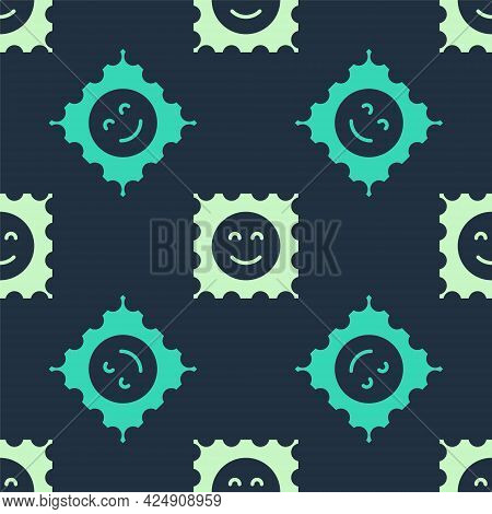 Green And Beige Lsd Acid Mark Icon Isolated Seamless Pattern On Blue Background. Acid Narcotic. Post