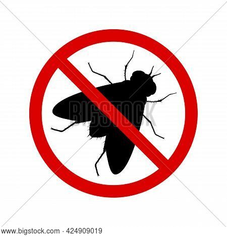 No Fly With Ban Sign. Anti Fly Pest Control Ban, Prohibition Parasitic Insects Silhouette Vector. St