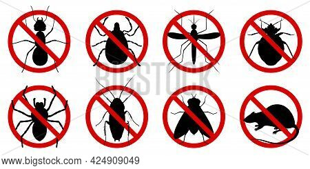 Anti Pest Control Ban, Prohibition Parasitic Insects. Stop, Warning, Forbidden Bug Icon Set. No, Pro