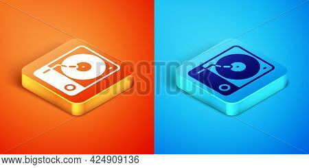 Isometric Vinyl Player With A Vinyl Disk Icon Isolated On Orange And Blue Background. Vector