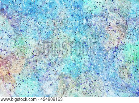 Abstract Watercolor Background, Hand-painted Texture With Paints, Strokes And Drops.