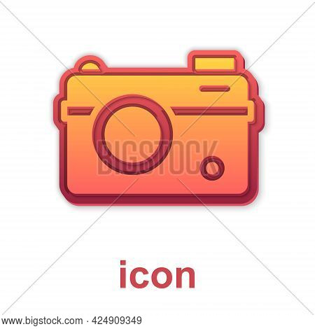 Gold Photo Camera Icon Isolated On White Background. Foto Camera. Digital Photography. Vector