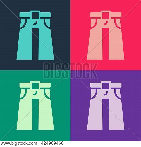 Pop Art Jeans Wide Icon Isolated On Color Background. Vector
