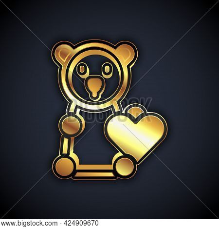 Gold Donate Child Toys Icon Isolated On Black Background. Charity Kindness, Volunteer Social Assista