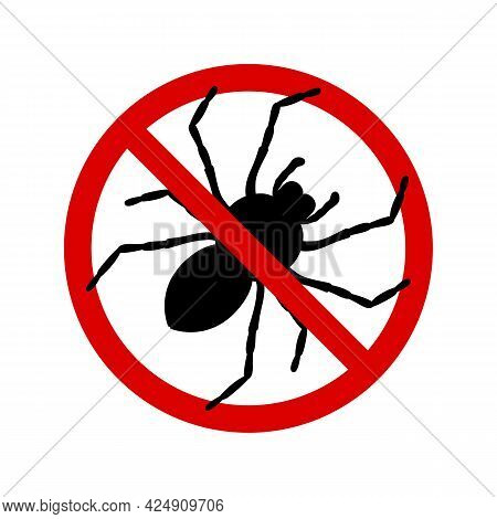 No Spiders With Ban Sign. Anti Tarantula Pest Control Ban, Prohibition Parasitic Insects Silhouette