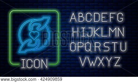Glowing Neon Pleasant Relationship Icon Isolated On Brick Wall Background. Romantic Relationship Or
