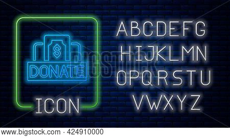 Glowing Neon Donation And Charity Icon Isolated On Brick Wall Background. Donate Money And Charity C