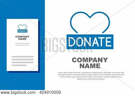Blue Donation And Charity Icon Isolated On White Background. Donate Money And Charity Concept. Logo