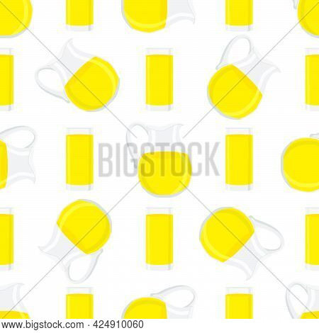 Illustration On Theme Colored Lemonade In Glass Jug