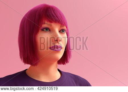 Pink Hairstyle Woman Flashing Lipstick Blunt Bob Red Hair 3d Illustration
