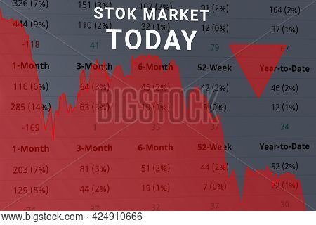 Chart Stock Market Down Today, Analysis, Forex Graph Finance Money Losing On Background Of Columns O