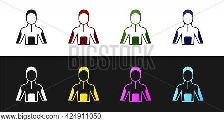 Set Wetsuit For Scuba Diving Icon Isolated On Black And White Background. Diving Underwater Equipmen