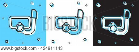 Set Diving Mask With Snorkel Icon Isolated On Blue And White, Black Background. Extreme Sport. Divin