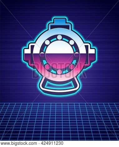 Retro Style Aqualung Icon Isolated Futuristic Landscape Background. Diving Helmet. Diving Underwater