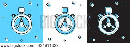 Set Stopwatch Icon Isolated On Blue And White, Black Background. Time Timer Sign. Chronometer Sign.