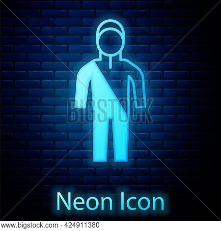 Glowing Neon Wetsuit For Scuba Diving Icon Isolated On Brick Wall Background. Diving Underwater Equi