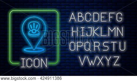 Glowing Neon Scallop Sea Shell Icon Isolated On Brick Wall Background. Seashell Sign. Neon Light Alp