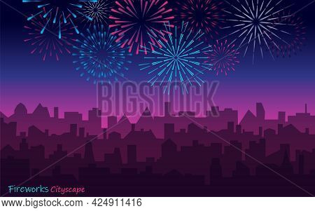 Night Cityscape With Fireworks. Vector Evening Landscape With Skyscrapers Silhouette And Bright Holi