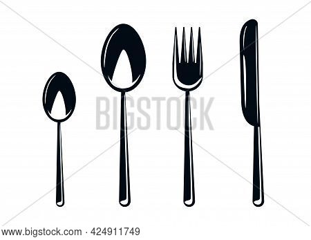 A Set Of Cutlery, Spoons And Forks. Tableware Or Cutlery Icons. Silhouette Of Utensils. Silhouette O