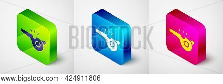 Isometric Whistle Icon Isolated On Grey Background. Referee Symbol. Fitness And Sport Sign. Square B