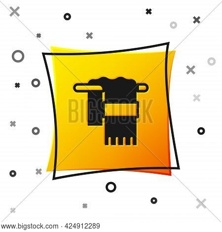 Black Towel On Hanger Icon Isolated On White Background. Bathroom Towel Icon. Yellow Square Button.