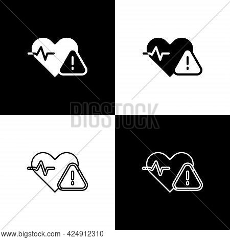 Set Heart Rate Icon Isolated On Black And White Background. Heartbeat Sign. Heart Pulse Icon. Cardio
