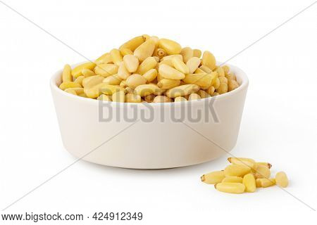 Pine nuts  isolated on white background with clipping path