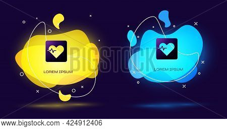 Black Heart Rate Icon Isolated On Black Background. Heartbeat Sign. Heart Pulse Icon. Cardiogram Ico