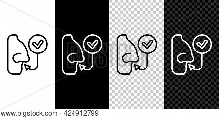 Set Line Healthy Breathing Icon Isolated On Black And White, Transparent Background. Breathing Nose.