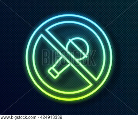 Glowing Neon Line Mute Microphone Icon Isolated On Black Background. Microphone Audio Muted. Vector