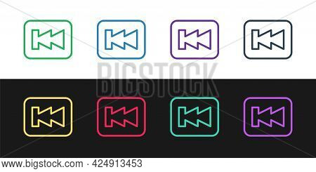 Set Line Rewind Button Icon Isolated On Black And White Background. Vector