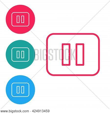 Red Line Pause Button Icon Isolated On White Background. Set Icons In Circle Buttons. Vector
