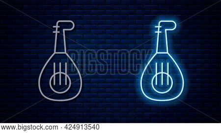 Glowing Neon Line Musical Instrument Lute Icon Isolated On Brick Wall Background. Arabic, Oriental,