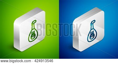 Isometric Line Musical Instrument Lute Icon Isolated On Green And Blue Background. Arabic, Oriental,