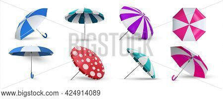 Beach Umbrella. Realistic Parasols. 3d Equipment For Protection Of Sunlight Or Rain. View From Diffe