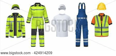 Professional Uniform. Realistic Work Wear With Helmet And Reflective Protective Stripes. Isolated Co
