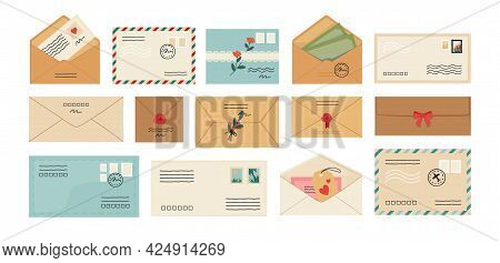 Letters. Cartoon Envelopes. Opened And Closed Mail With Post Stamps. Correspondence Delivery. Sendin
