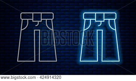 Glowing Neon Line Jeans Wide Icon Isolated On Brick Wall Background. Vector