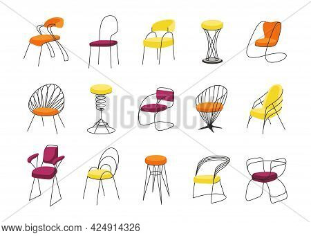 Chairs. Cartoon Interior Furniture For Sitting. Stools Templates With Bright Comfortable Soft Seats.