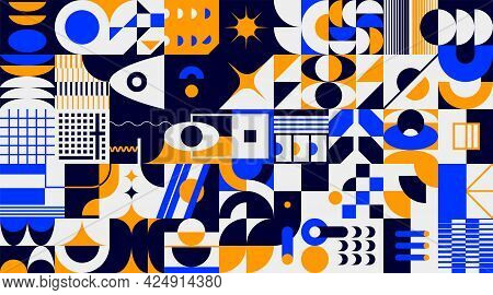 Abstract Brutalism Background. Geometric Minimalistic Forms, Contemporary Graphic Collage. Bright Sh