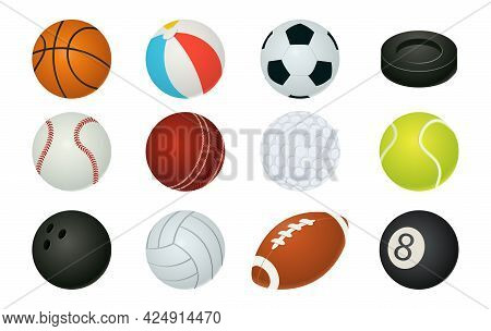 Cartoon Balls. Sport Inventory. Spheres For Playing Basketball And Football, Tennis Or Baseball. Hoc