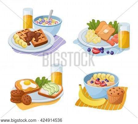 Breakfast Meals. Cartoon Morning Food Types. Serving Lunch With Sandwiches And Sweet Muffins. Bowl O