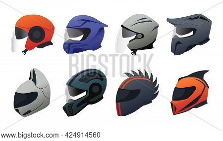 Helmet. Cartoon Motorbike Riding Headgear. Safety Equipment For Motorcycle Drivers. Head Protection.