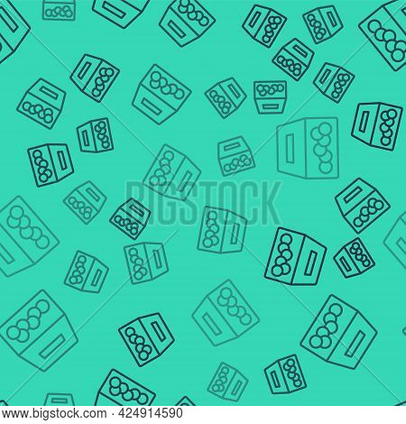 Black Line Donation And Charity Icon Isolated Seamless Pattern On Green Background. Donate Money And
