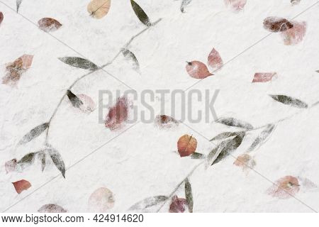 Mulberry Paper Red Dry Flower And Leaves Texture Background