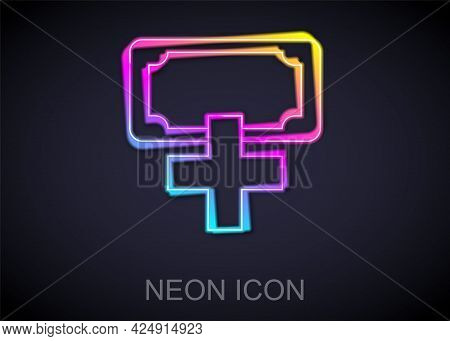 Glowing Neon Line Donation And Charity Icon Isolated On Black Background. Donate Money And Charity C