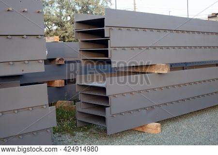 Construction Beams Stack Metal Structure Iron Girder